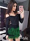 Платье с юбкой из бахрамы и открытыми плечами 66plt658Q, фото 3