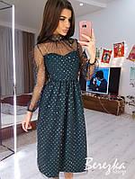 Платье из сетки с блестками с пышной юбкой и высоким горлом 66plt661E