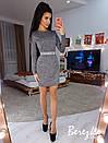 Платье футляр из трикотажа люрекс с длинным рукавом и поясом 66plt663E, фото 2