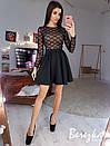 Черное платье с пышной юбкой и верхом из сетки с пайеткой 66plt667Q, фото 2