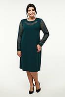 Элегантное женское платье тёмно зелёного цвета батал 52-58 размер