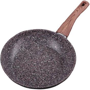 Сковорода с гранитным покрытием и деревянной ручкой Olina, 24 см.