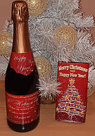 Новогодний комплект сувенирных наклеек на шампанское
