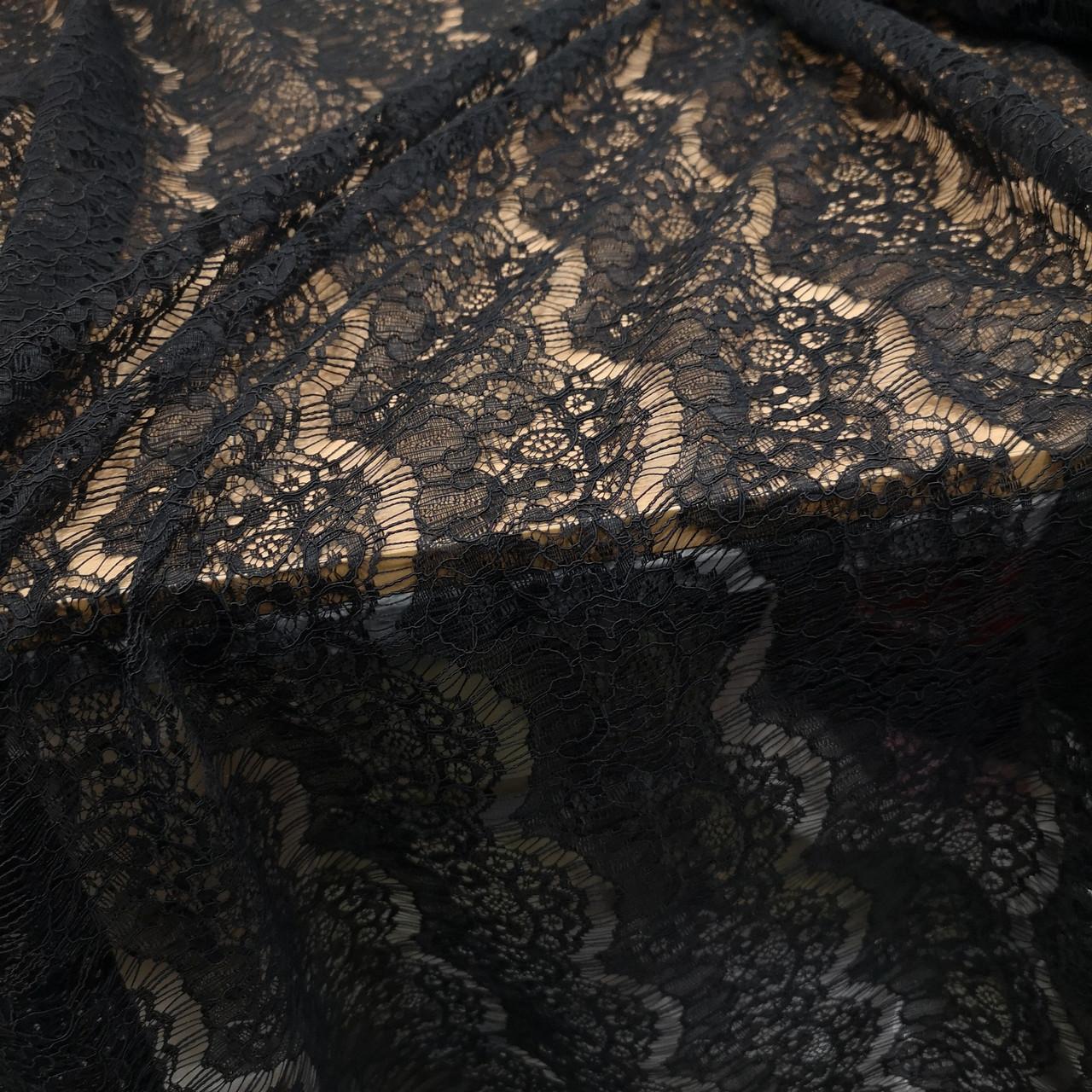 Тканина гіпюр вії щільний чорний