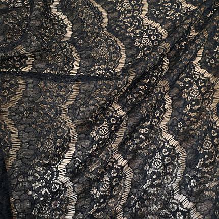 Тканина гіпюр вії щільний чорний, фото 2