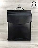 Шкіряна сумка рюкзак молодіжний чорного кольору, фото 1