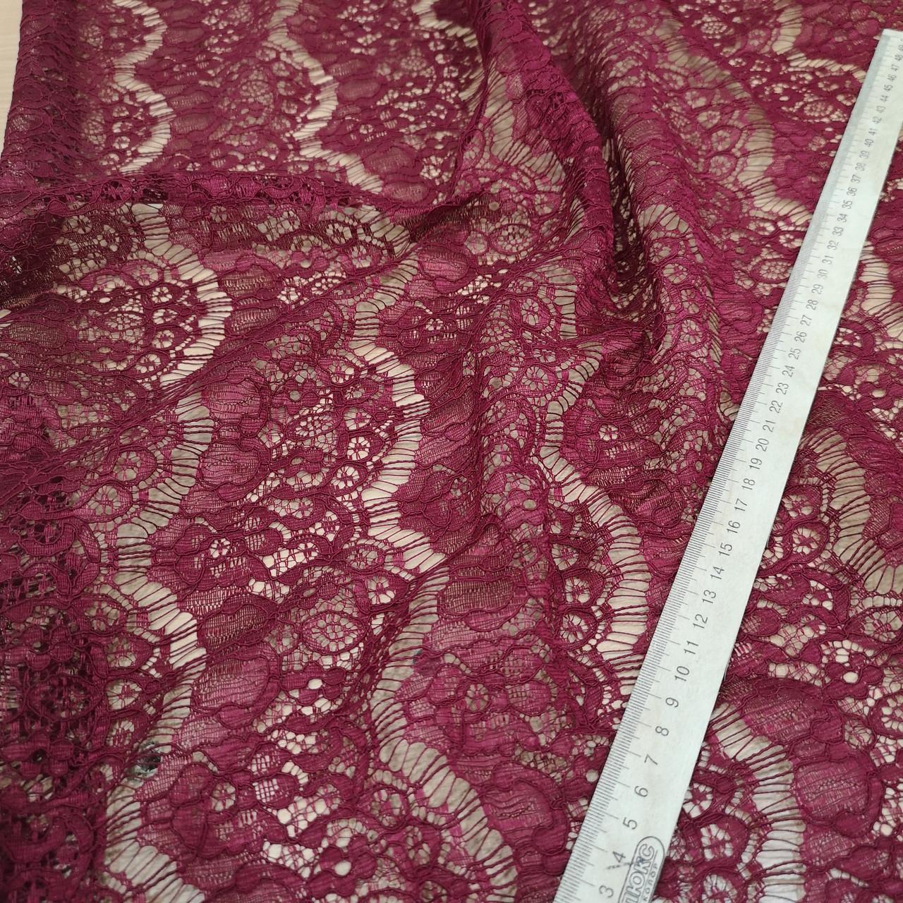 Ткань гипюр реснички плотный бордовый