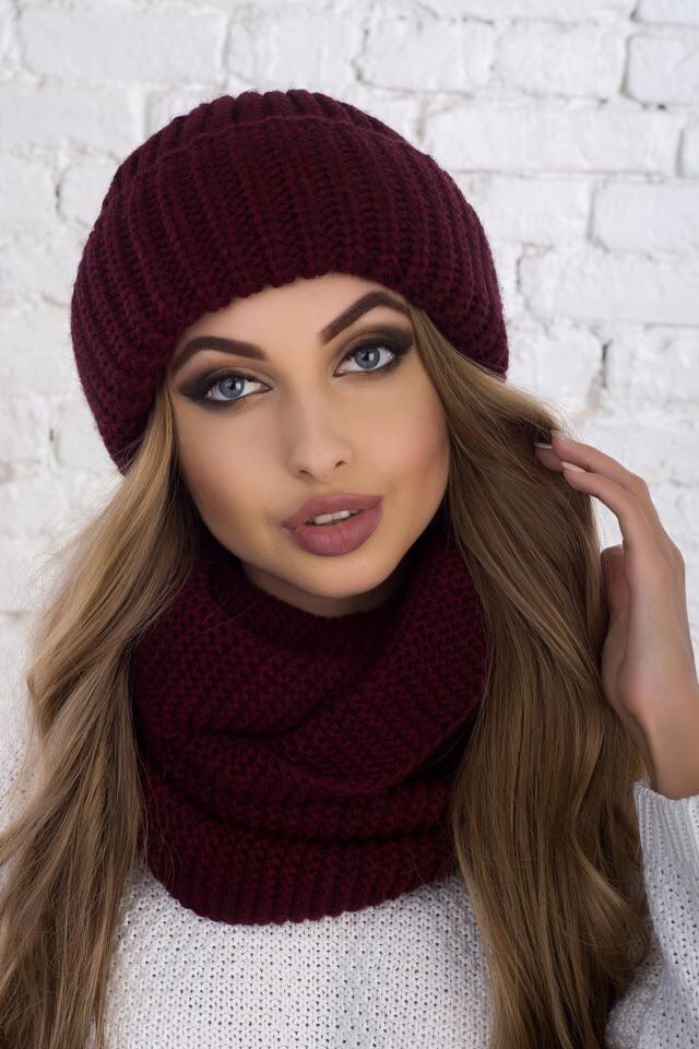 Женский комплект шапка и снуд из крупной вязки с шерстью 61gol212