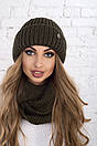Женский комплект шапка и снуд из крупной вязки с шерстью 61gol212, фото 5