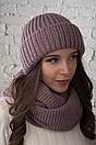 Женский комплект шапка и снуд из крупной вязки с шерстью 61gol212, фото 7