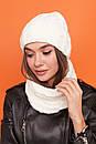 Женский комплект из шапки и снуда из узорной вязки 61gol216, фото 3