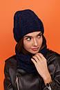 Женский комплект из шапки и снуда из узорной вязки 61gol216, фото 4