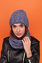 Женский комплект из шапки и снуда из узорной вязки 61gol216, фото 7