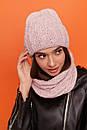 Женский комплект из шапки и снуда из узорной вязки 61gol216, фото 8