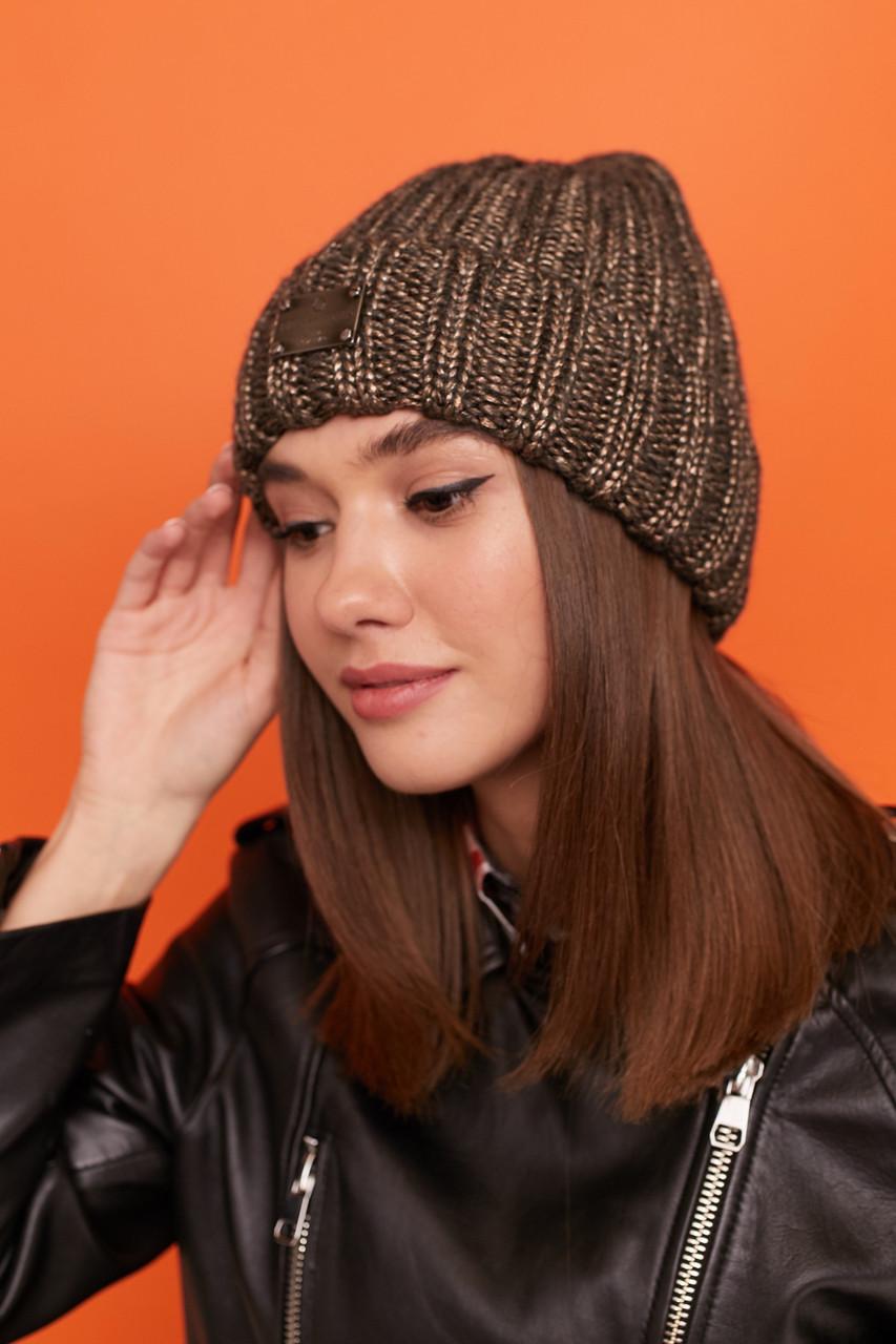 Женская шапка вязаная с подворотом из крупной вязки 61gol217