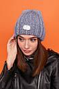 Женская шапка вязаная с подворотом из крупной вязки 61gol217, фото 3