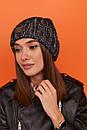 Женская шапка вязаная с подворотом из крупной вязки 61gol217, фото 4