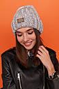 Женская шапка вязаная с подворотом из крупной вязки 61gol217, фото 7