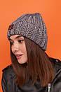 Женская шапка вязаная с подворотом из крупной вязки 61gol217, фото 9