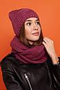 Женский комплект хомут и шапка на флисе с шерстью в составе 61gol220, фото 2