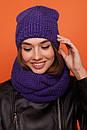 Женский комплект хомут и шапка на флисе с шерстью в составе 61gol220, фото 7