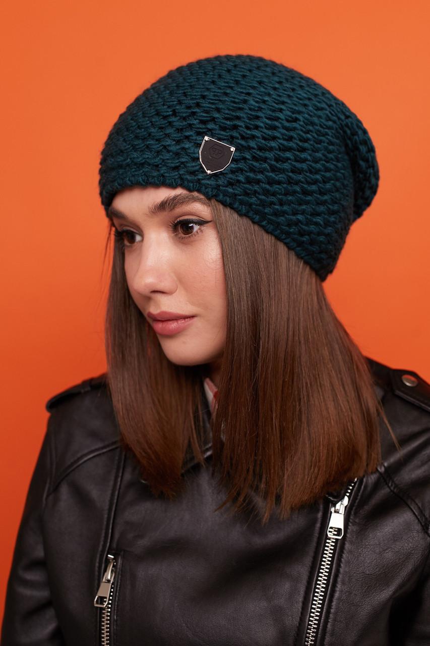 Женская шапка чулок крупной вязки с шерстью и утепленная флисом 61gol221