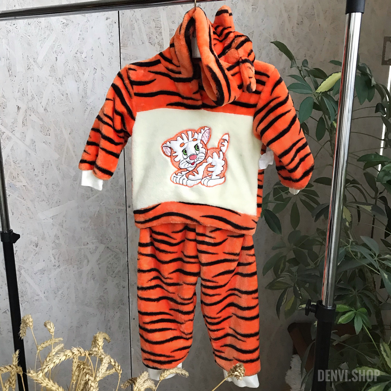"""Теплий дитячий комплект """"Мій тигр"""" 68-86 см ( кофточка, штанці)."""