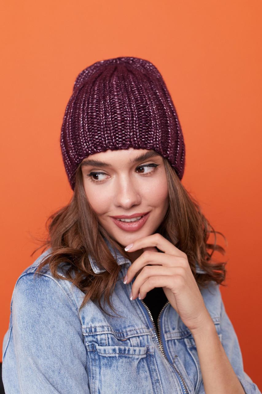 Женская теплая шапка крупной вязки с флисом внутри 61gol224