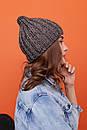 Женская теплая шапка крупной вязки с флисом внутри 61gol224, фото 4