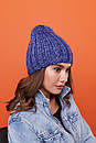 Женская теплая шапка крупной вязки с флисом внутри 61gol224, фото 5