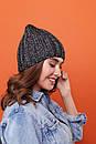 Женская теплая шапка крупной вязки с флисом внутри 61gol224, фото 8
