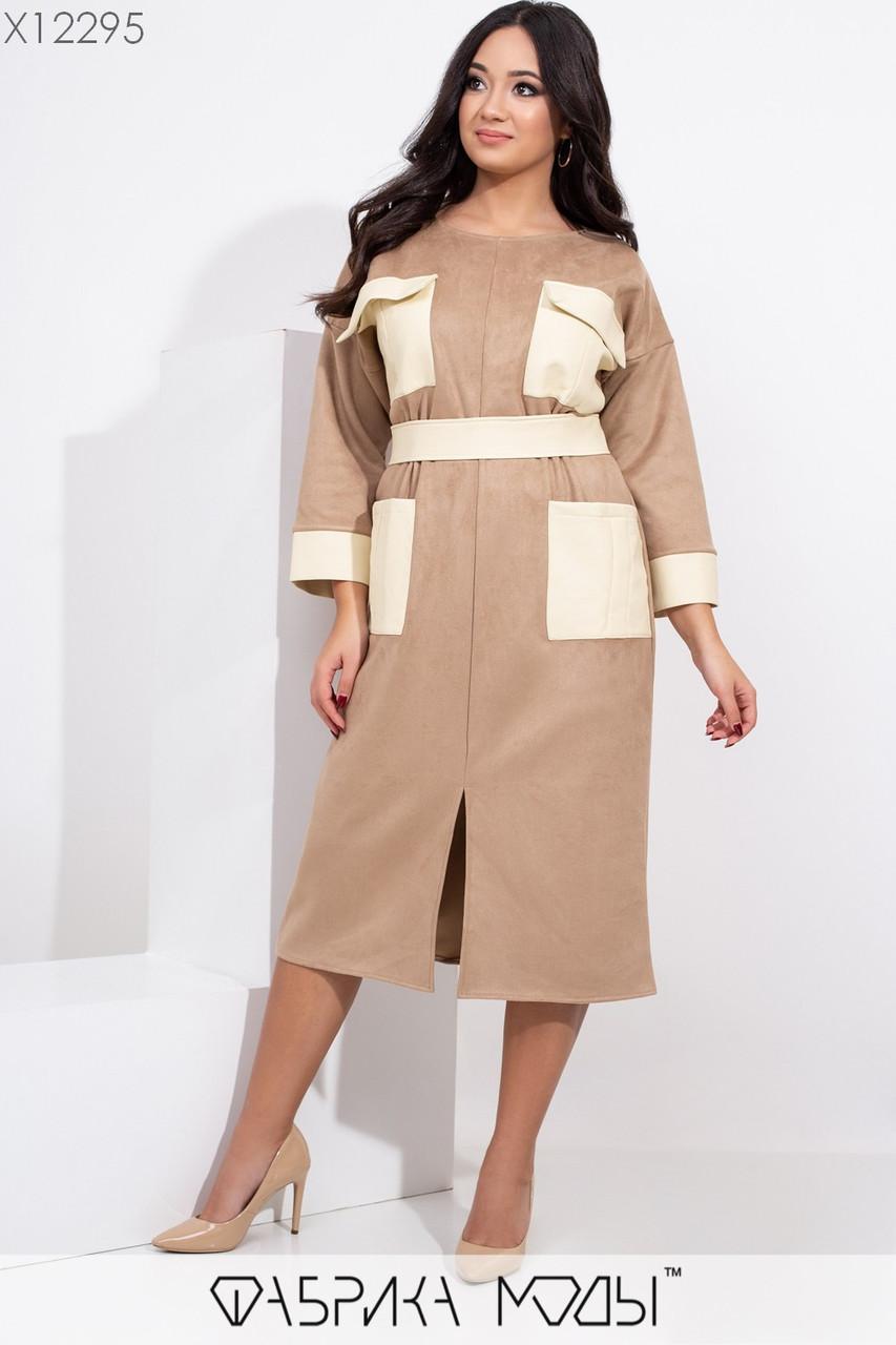 Замшевое платье - футляр в больших размерах с вставками из экокожи 1blr453