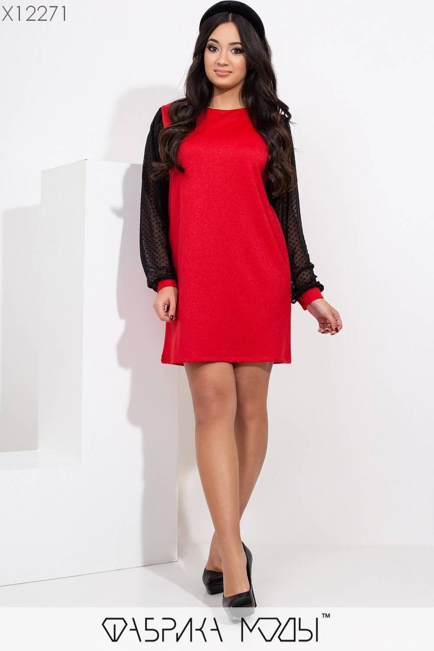 Короткое платье в больших размерах с люрексом и рукавами из сетки 1blr458