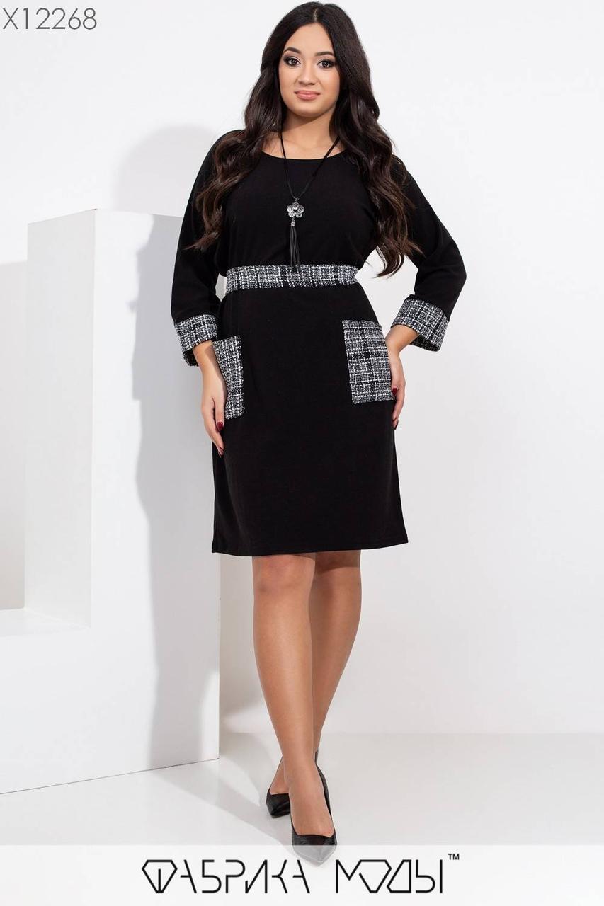 Платье из ангоры в больших размерах с вставками из трикотажа клетки 1blr459