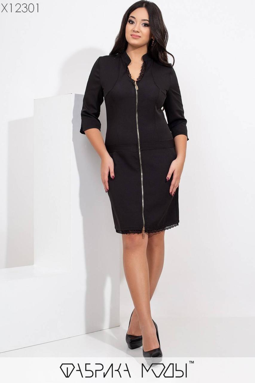 Платье по фигуре в больших размерах с молнией спереди по всей длине и вставками гипюра 1blr462