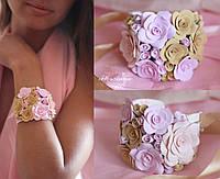 """""""Розовая ваниль"""" браслет с розами из полимерной глины"""