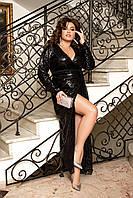 Блестящее черное вечернее платье большого размера, размеры 48-50, 52-54, 56-58, 60-62, 64-66.