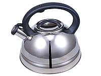 Чайник кухонный 3 литра из нержавеющей стали со свистком и черной ручкой для всех видов плит Zauberg