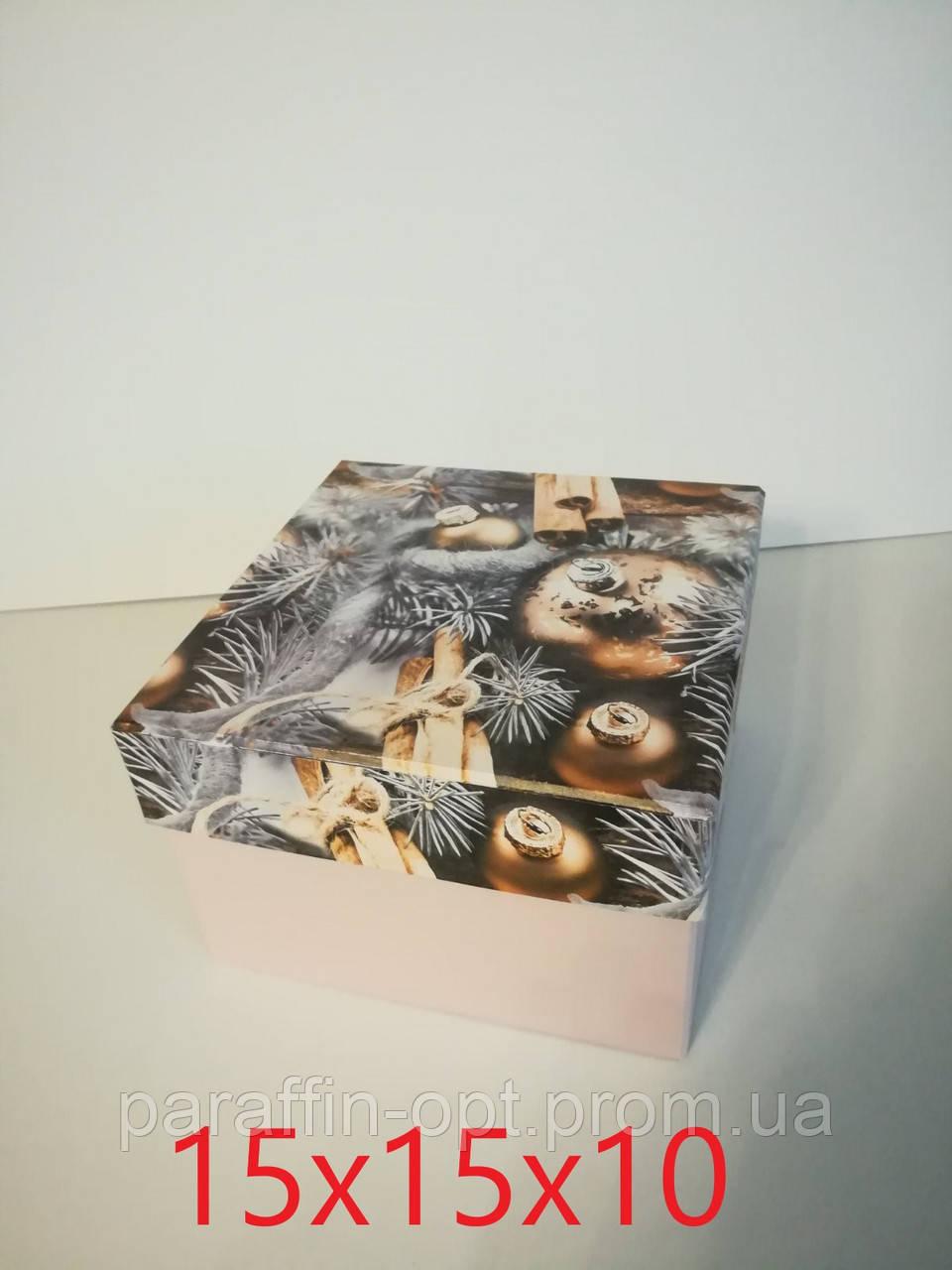 Подарочная коробка квадратная новогодняя