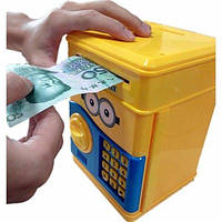 Копилка сейф, детский банкомат с кодовым замком MINION, фото 1