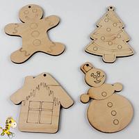 Деревяні новорічні іграшки Набір 2 (4 фігурки)