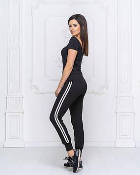 Стильные женские спортивные черные штаны с лампасами(пояс резинка+шнурок,снизу манжеты).