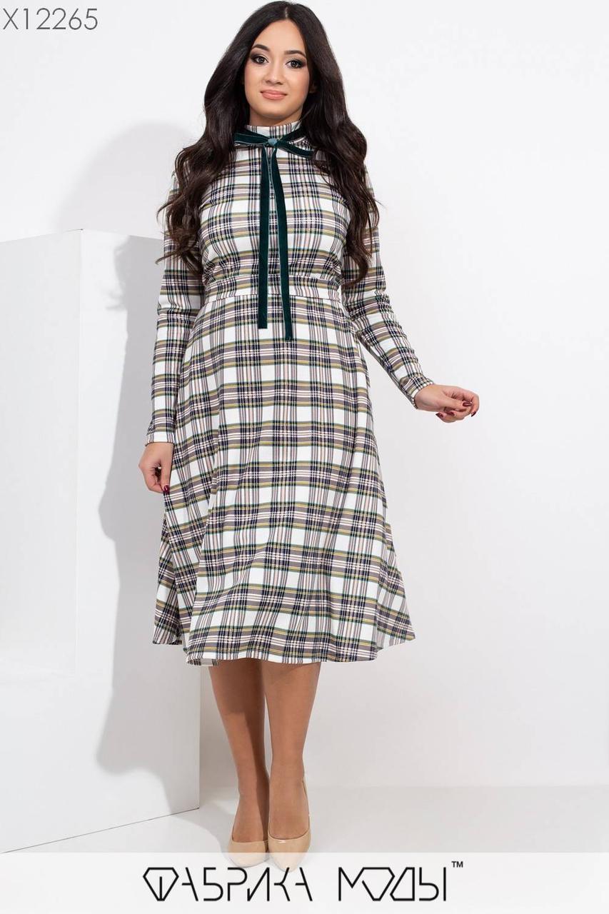 Трикотажное принтованное платье миди в больших размерах с расклешенной юбкой 1blr465