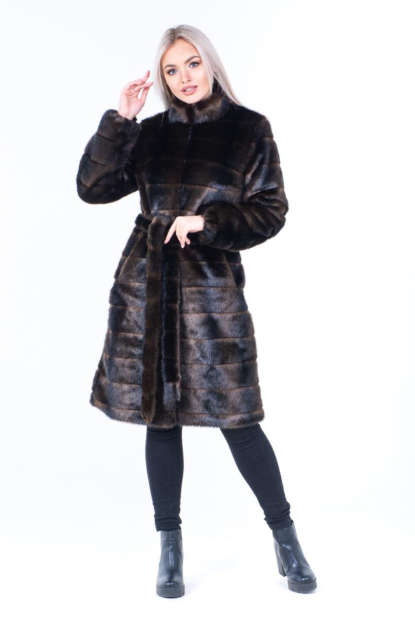 Женская коричневая шуба из экомеха под норку поперечными полосками и с воротником - стойкой 39shu121