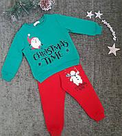 Комплект детский Рождество (батник+штаны), размер 86-104, зеленый+красный