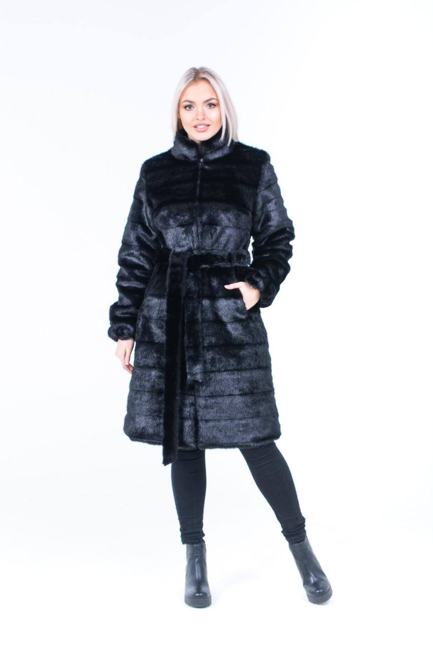 Женская черная шуба из поперечного экомеха норки с воротником - стойкой 39shu126