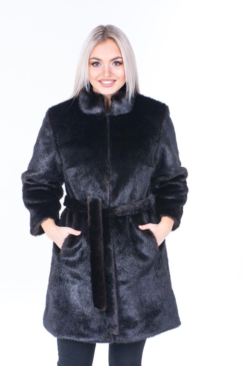 Женская экошуба из коричневого меха под норку с воротником стойкой и рукавом 3/4 39shu129