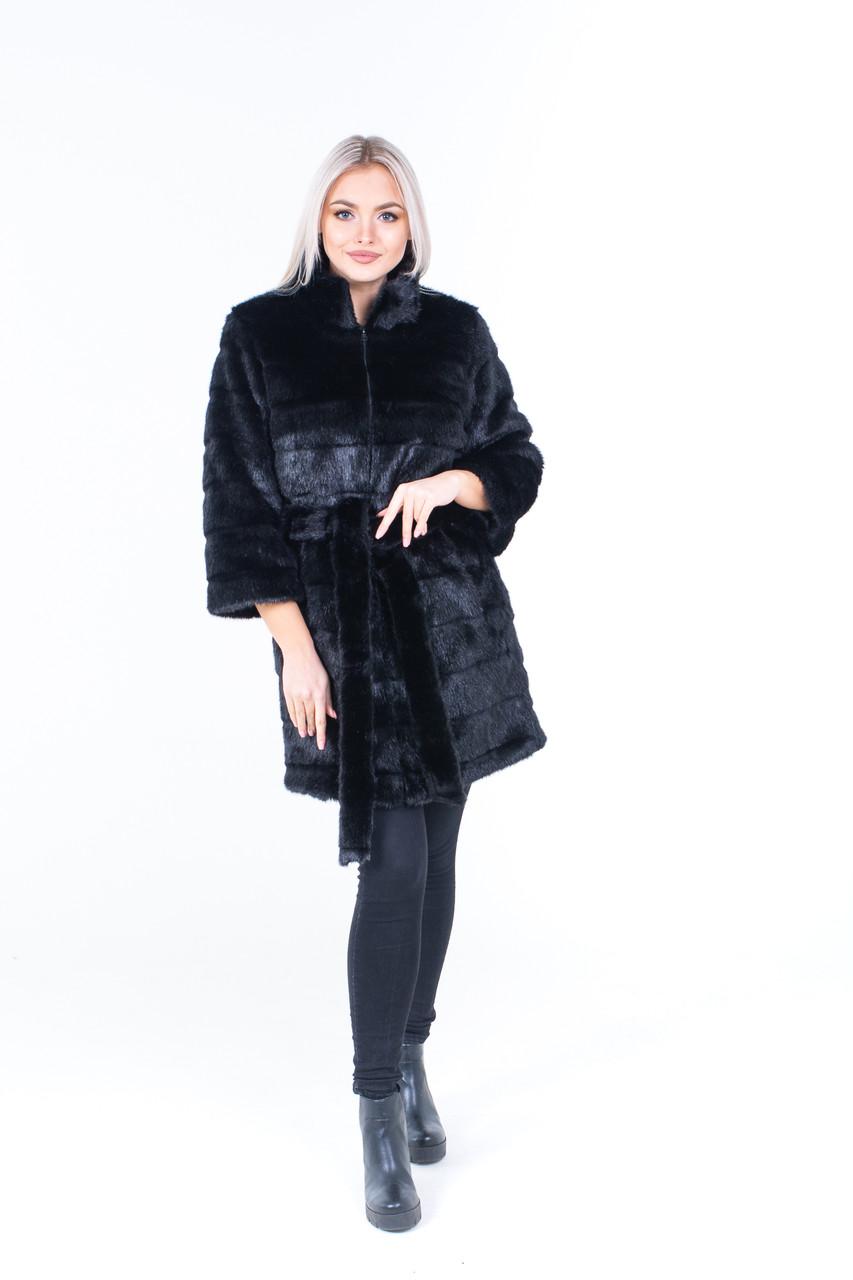 Женская черная шуба из искусственного меха с рукавом 7/8 и воротником - стойкой 39shu134