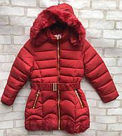 Пальто еврозима детское для девочки с поясом от 4до 8лет, темно-красного цвета
