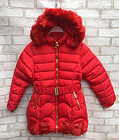 Пальто еврозима детское для девочки с поясом от 4до 8лет, красного цвета